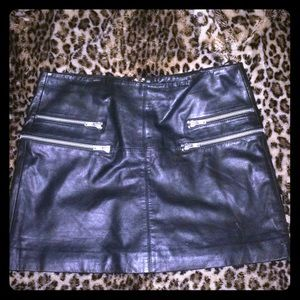 Black leather mini with zipper detail